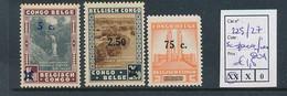 BELGIAN CONGO COB 225/27 5C PARAFIN GUM 225/227  MNH - 1923-44: Ungebraucht