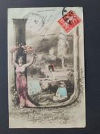 Carte Postale Alphabet, Lettre U  / Timbre Et Cachet 1908 / Photographie, Editions Musterschutz 195 - Altri