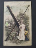 Carte Postale Alphabet, Lettre X / Timbre Et Cachet 1908 / Photographie, Editions Musterschutz 195 - Altri
