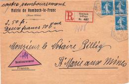 Paire Et Isolé 25c Semeuse Devant De LR Contre-remboursement 2e échelon Rombach Le Franc 1922 étiquettes Francisées - 1906-38 Säerin, Untergrund Glatt