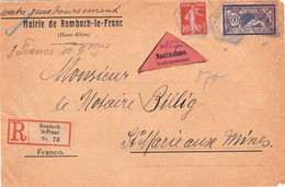 Paire Et Isolé 25c Semeuse Devant De LR Contre-remboursement Rombach Le Franc 26 10 1921 étiquettes All Et Francisées - Posttarife