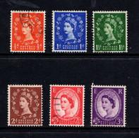 GREAT  BRITAIN    1957    Queen  Elizabeth  11   Graphite  Line  Issue    Set  Of  6    USED - Gebraucht