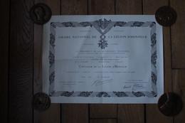 Diplôme De La Légion D'Honneur Daté De 1971  Pour Un Chef, D'escadron - Diplomi E Pagelle