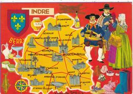 36. INDRE.  CARTE  DÉPARTEMENTALE ILLUSTREE DU DEPARTEMENT DE L'INDRE. ANNEE 1979 + TEXTE - Non Classés