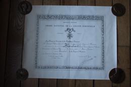 Diplôme Chevalier  De La Légion D'Honneur 1952  Capitaine Des Agents Spéciaux En Afrique Du Nord - Diplomi E Pagelle