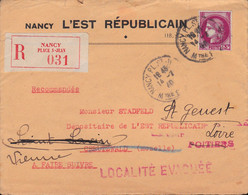 3F Cérès Seul Sur LR Nancy 14 2 1940 Pour Creutzwald Réexpédiée Dans La Vienne Suite à 'Localité évacuée' (griffe Rare) - 2. Weltkrieg 1939-1945