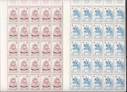2 Feuilles Complètes De  50 Timbres Des  N° 1278 Et  1279  Croix-rouge 1960. - Full Sheets