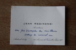 Carte De Visite écrite  De Jean REGINENSI Aviateur - Autografi