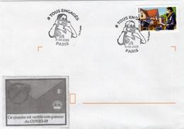 """France ,lettre Sur Covid 19, """" Tous Engagés """". Tampon 1er Jour Du 11.09.2020. Timbre Et Vignettes. - Sellado Mecánica (Otros)"""