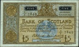 ♛ SCOTLAND - 5 Pounds 08.08.1962 {sing. Bilsland & Watson} {# 1J 7849} VF P.103 - 5 Pounds