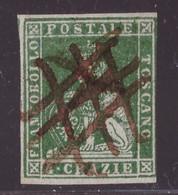 Toscana, 4 Crazie Verde Giallo Scuro Su Grigio Usato Con Annullo A Penna (cert. Terrachini)         -CZ46 - Toskana