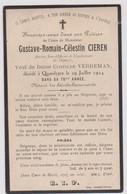 Image Pieuse Religieuse Mortuaire QUAEDYPRE  1924 CIEREN Ancien Sous Officier Et Combattant Guerre De 1870 1871 - Devotion Images