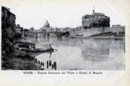 Roma - VEDUTA GENERALE DEL PONTE E CASTEL SANT'ANGELO Antica Cartolina Postale Italiana (Carte Postale) - D14A - Castel Sant'Angelo