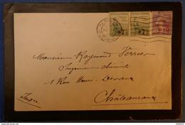 F2 FRANCE BELLE LETTRE 1929 PARIS POUR CHATEAUROUX+ PAIRE ORPHELINS AFFRANCHIS PLAISANT - Lettres & Documents