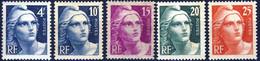 725 à 729 MARIANNE TAILLE DOUCE  NEUF**  ANNEE 1945 à 1947 - 1945-54 Marianne De Gandon