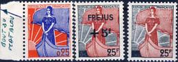 1216 + 1229 + 1234  MARIANNE à La NEF  NEUF**  ANNEE 1959 - 1960 - 1959-60 Marianne In Een Sloep