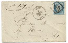 N° 60 BLEU CERES SUR LETTRE / CONVOYEUR AVON SAIN V POUR NIMES / 1875 / LSC - 1849-1876: Période Classique