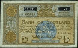 ♛ SCOTLAND - 5 Pounds 08.10.1963 {sing. Bilsland & Watson} {# B 998149} VF P.106 A - 5 Pounds