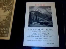 Train Dépliant Touristique Horaire Des Trains De Montagne Vers Le Mont Blanc Col De Voza Glacier De Bonnassay 1929 - Folletos Turísticos