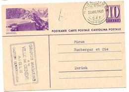 """253 - 66 - Entier Postal Avec Illustration """"Grimsel"""" Avec Superbe Cachet Chemins De Fer """"Gare Aigle CFF 1939"""" - Ganzsachen"""