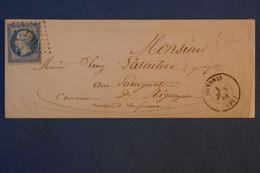 H7 FRANCE BELLE LETTRE 1861 GONDRIN  POUR VILLEFRANCHE PAR AUCH  +  NAPOLEON + AFFRANCHISSEMENT PLAISANT - 1853-1860 Napoléon III