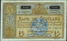 ♛ SCOTLAND - 5 Pounds 12.01.1965 {sing. Bilsland & Watson} {# D 024702} VF P.106 A - 5 Pounds