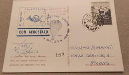 MOSTRA FILATELICA MELZO 1967 VOLO CON PALLONE LIBERO - AEROSTATO - Balloons