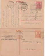 """Deutsches Reich / 1918 / 2 """"Germania""""-Postkarten Stempel """"Stuttgart"""" Und """"Plauen"""" (C874) - Postwaardestukken"""