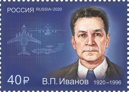 2020-2714 1v Russia Vladimir Ivanov, Designer Of Aviation Complexes MNH ** - Nuovi