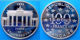 FRANCE 100 F 1993 ARGENTO PROOF FRANCS PALAZZI PORTE DE BRANDEBOURG BRANDEBURGO PESO 22,2g TITOLO 0,900 CONSERVAZIONE FO - N. 100 Francs