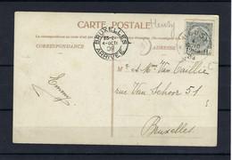 N°81 OP KAART GESTEMPELD *Heusy* 1909 NAAR Bruxelles COBA € 15,00 - 1893-1907 Coat Of Arms