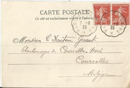 1921 - N° 160 - 2 Ex. Oblitérés Sur Carte - Ambulants PARIS - TOURCOING - Lettres & Documents