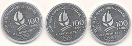 J122-100 - Monnaie France  - Lot De 3 Pièces 100 Francs Argent - Jeux Olympiques D'Hiver D'Albertville - N. 100 Francs