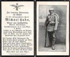 MEMENTO SOLDAT ALLEMAND MICHAEL HAHN MORT LE 8 JUIN 1916 A VERDUN 2EM REGIMENT INFANTERIE - Obituary Notices