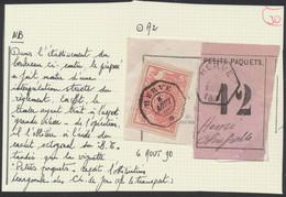 """Chemin De Fer - TR11 Sur Frag. """"Petits Paquets 12"""" + Cachet Télégraphique & Hexagonale """"Herve"""" > Henri Chapelle + Descri - Fragmentos & Cartas"""