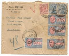 ITALIA ESPRES 30CX4+10C+25CX2 LETTERA ROMA CENTRO 1921 TO FRANCE PNEUMATIQUE EN ARRIVEE - Posta Espresso