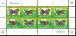 BHHB 2020-12 BUTTERFLIES, BOSNA AND HERCEGOVINA HERCEGBOSNA CROAT, MS, MNH - Butterflies