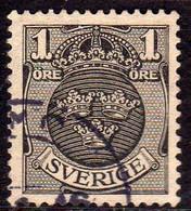 SWEDEN SVERIGE SVEZIA SUEDE 1910 1914 COAT  OF ARMS STEMMA ARMOIRIES ORE 1o USATO USED OBLITERE' - Oblitérés