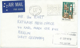 Australia Maryborough Letter Via Germany 1973 - Machine Stamp & Stamp Motive : 1971 Art Of Australian Aborigines - Lettres & Documents