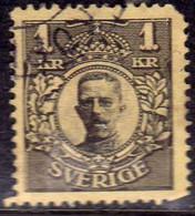 SWEDEN SVERIGE SVEZIA SUEDE 1910 1919 1911 KING GUSTAV V RE 1K USATO USED OBLITERE' - Oblitérés