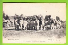 Laos : Convoi D'Eléphants Chez Les Bolovens, Haut Laos. Chez Les Lavens. Rare. 2 Scans. Collection Raquez - Laos