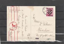 Croatia NDH Zagreb WEHRMACHT CENSORED POSTCARD 1941 - Croazia
