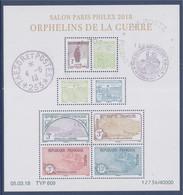 Bloc Oblitéré Orphelins De La Guerre Salon Paris Philex Daté 05.03.18 F5226 5227 5228 5229 5230 5231 5232 5233 - Gebraucht