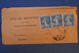 H8 FRANCE AVIS DE RECEPTION 1925  A PARIS AFFRANCHISSEMENT INTERESSANT AVEC PAIRE SEMEUSE 25 C - Lettres & Documents