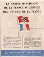 1942 TRACT 4 PAGES DISTRIBUE PAR LA RAF / LA MARINE MARCHANDE DE LA FRANCE AU SERVICE DES ENNEMIS DE LA FRANCE   Z10 - Historical Documents