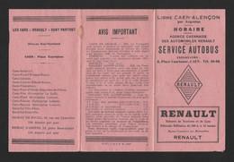 Horaires.  Service Autobus Ligne CAEN-ALENCON Par ARGENTAN.  Automobiles Renault.   Autocars.  Voyages.   Messagerie. - Europe