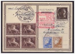 Dt- Reich (005306) 1939 42 PF Braunes Band Im 4er-Block Mit ZuF Auf 6 Pf Hitler GA P278/03 Mit Zeppelin Deutschlandfahrt - Storia Postale