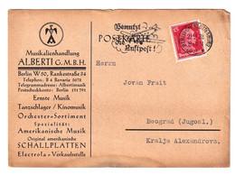 Musikalienhandlung Alberti, Berlin Company Postcard Posted 1928 To Beograd B201110 - Brieven En Documenten