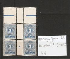 MAROC  .  TAXE N° 28 .  X CHARNIERE . MILLESIME 8 ( 1918 )  . VOIR SCAN R/V . - Postage Due