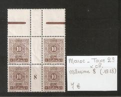 MAROC  .  TAXE N° 29 .  X CHARNIERE . MILLESIME 8 ( 1918 )  . VOIR SCAN R/V . - Postage Due